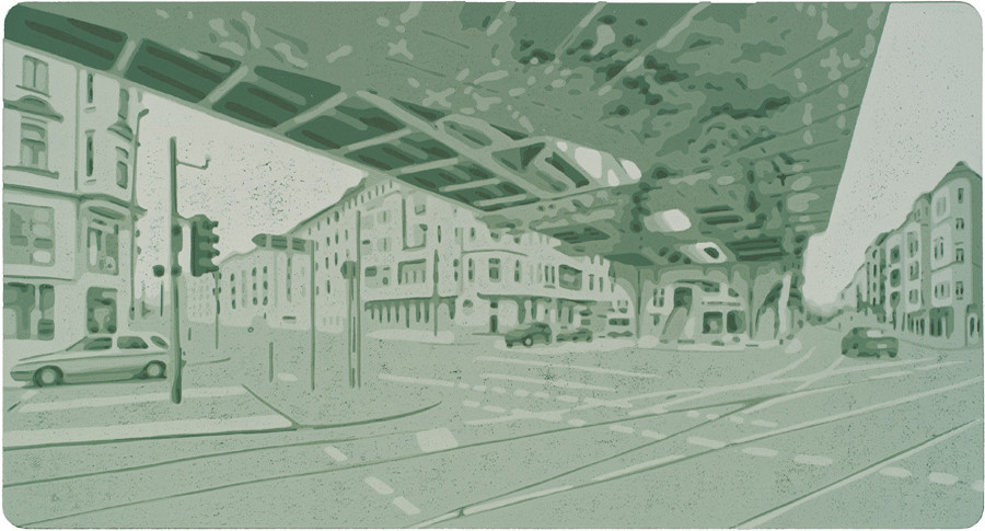 Harald Alff | Berlin 1 | 2012 | Farbholzschnitt | Papierformat 50 x 70 cm | Grafikformat 31,5 x 59,5 cm  | 180 Euro