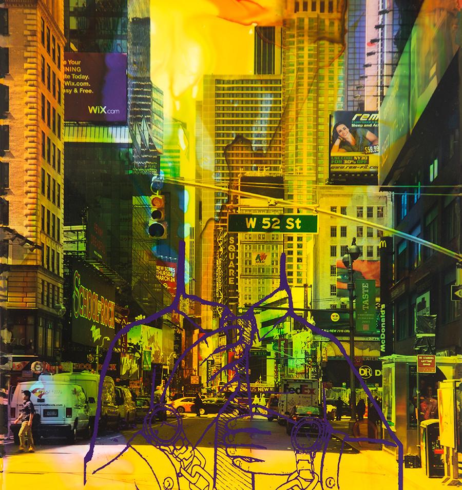 NY Reloaded E 21  | 2018 | Malerei und Siebdruck auf Fotografie | 40 x 30 x 5 cm | 1300 Euro