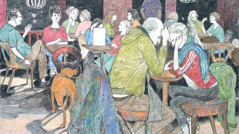 Lydia Lander | Die Entscheidung | Tusche und Farbstift auf Papier | 21 x 29 cm | 300 Euro