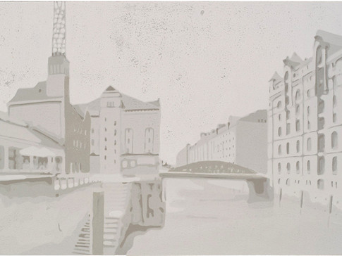 Harald Alff | Hamburg 4 | Farbholzschnitt | 2012 | Papierformat 50 x 70 cm | Grafikformat 31,5 x 59,5 cm | verkauft