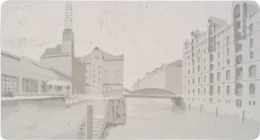 Harald Alff | Hamburg 4 | Farbholzschnitt | 2012 | Papierformat 50 x 70 cm | Grafikformat 31,5 x 59,5 cm | 180 Euro