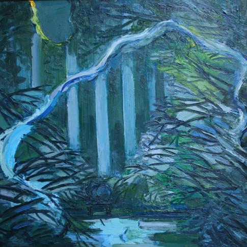 Hubertus Giebe | Garten im Mondlicht | 2008 | Ölfarbe auf Leinwand | 80 x 80 cm | 5600 Euro