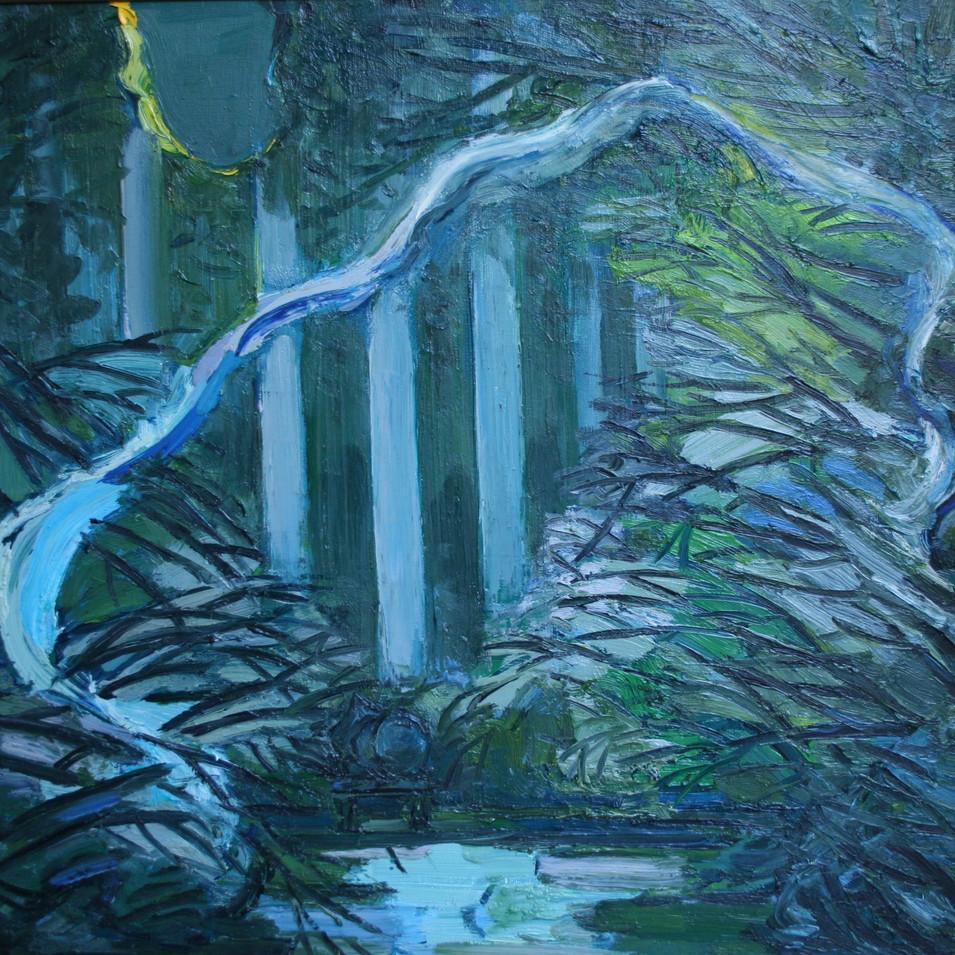 Hubertus Giebe   Garten im Mondlicht   2008   Ölfarbe auf Leinwand   80 x 80 cm   5600 Euro