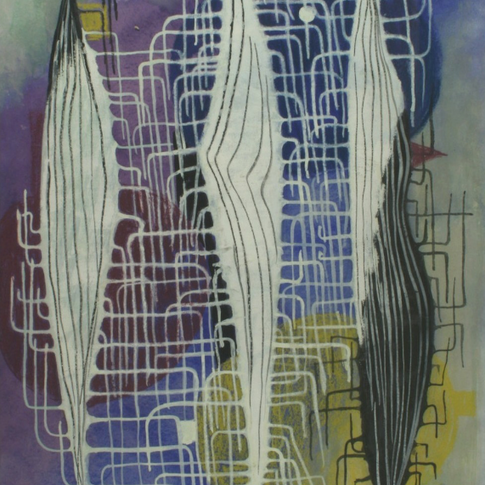 Georg Paul I Komposition 350 I 1960 I Aquarell und Pastell I 66 x 48 cm I 2400 Euro