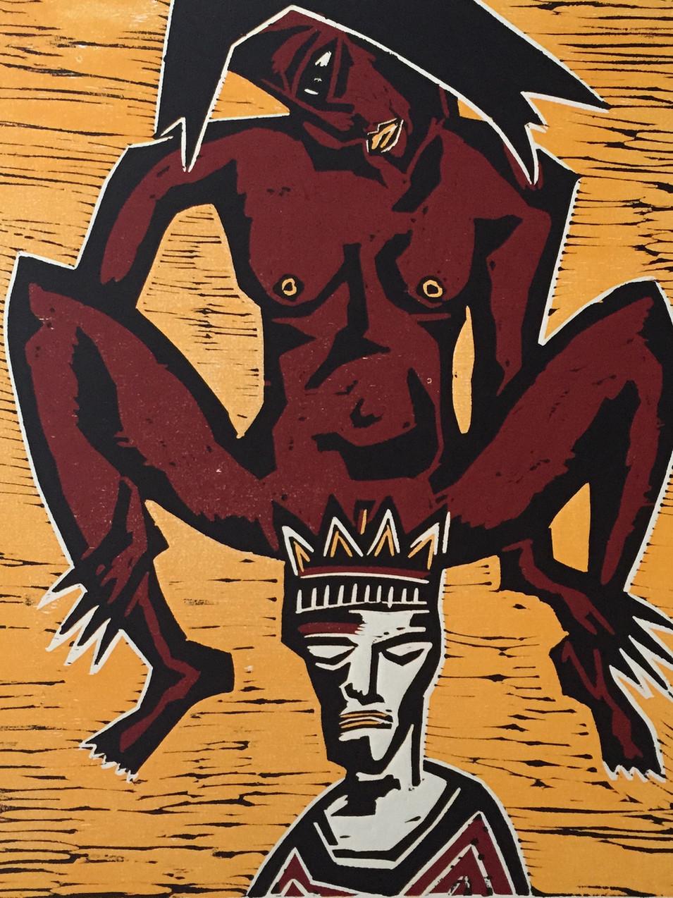 Klaus Süß   Die Macht der Frau  Mappe König und Narr  2000   Farbholzschnitt   5/10 51 x 41 cm  Mappe komplett1400 Euro