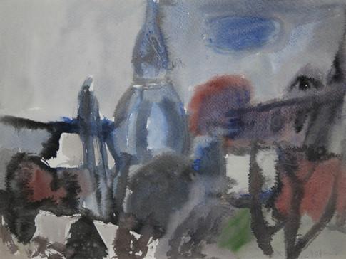 Heinz Tetzner | Kirche | o.J. | Aquarell auf Papier | 36 x 48 cm | 1100 Euro