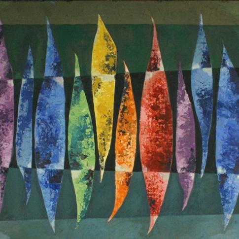 Georg Paul I Komposition I 1962 I Öl auf Pappe I 49 x 59 cm I 2200 Euro