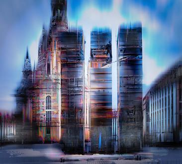 Jens-Christian Wittig | Church of Our Lady and Busses | 2017 | Lambda print acrylic front | 100 x 90 cm | Rahmung Artbox Aluminium 2,5 cm | 3400 Euro