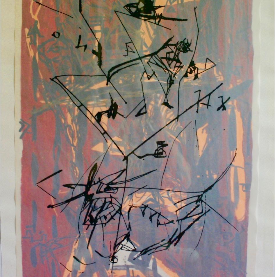 Dagmar Ranft-Schinke   Tuch des Schamanen   1993   Collage, genäht, Serigrafie (5-farbig) und Lithografie   73 x 51 cm   1500 Euro