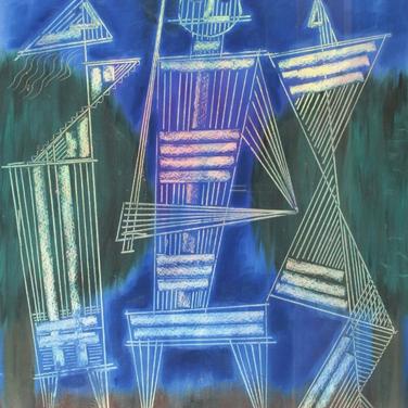 Georg Paul I Rendevous zu Dritt in IIAWAH I 1972 I Öl gestreift, Figuren gekratzt I 58 x 48 cm I 2100 Euro