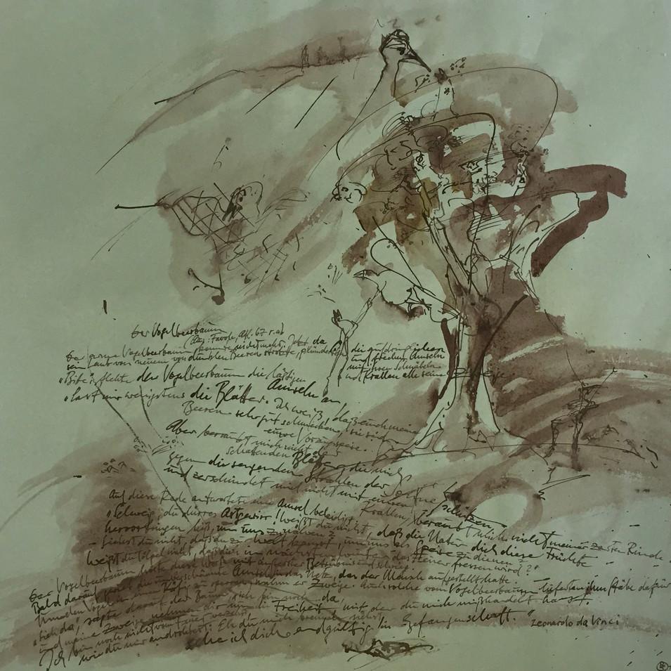 Dagmar Ranft-Schinke   Leonardo da Vinci  2014  Mischtechnik, Aquarell, Tusche 48,5 x 49,5cm   980Euro