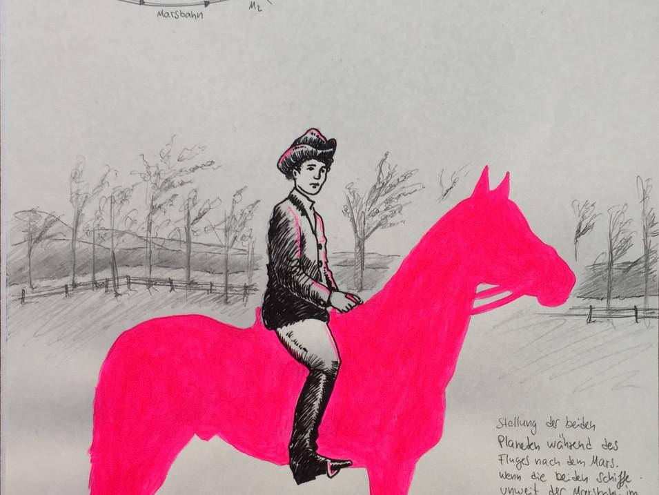Axel Teichmann | Halbe Hinreise | 2014 | Zeichnung | 30 x 21 cm | gerahmt | 900 Euro