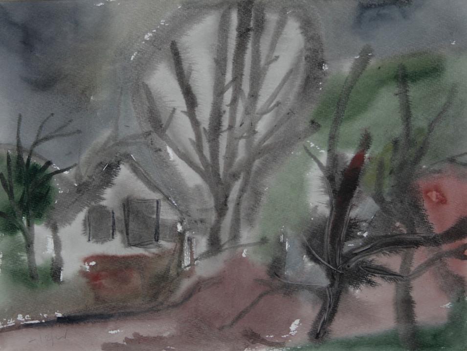 Heinz Tetzner   Dorf im Herbst   o.J.   Aquarell   36 x 48 cm   1100 Euro