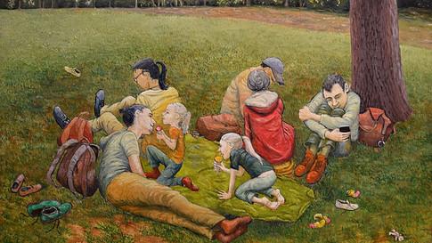 Lydia Lander | Picknick auf grüner Decke | 2017 | Eitempera und Harzölfarben auf Papier auf Hartfaser | 30 x 42 cm | 700 Euro