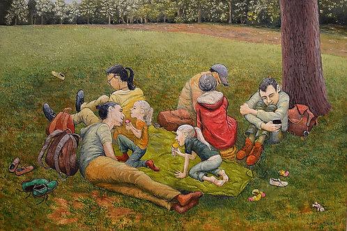 Picknick auf grüner Decke