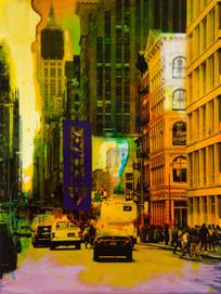 Helle Jetzig | NY Reloaded E 11 | 2017 | Malerei auf Siebdruck auf Fotografie | 30 x 40 cm | 650 Euro