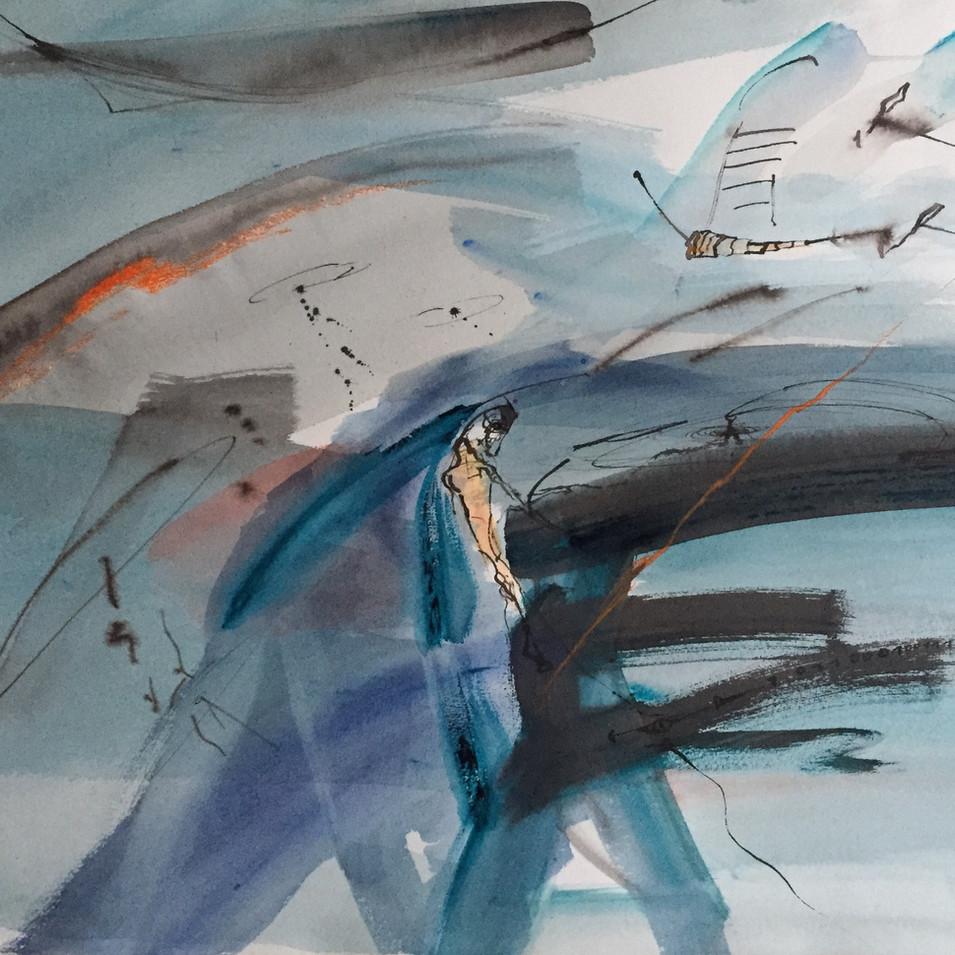 Dagmar Ranft-Schinke   Verwandlung   2014   Tuschzeichnung, Acryl, Aquarell   56 x 78 cm   1900 Euro