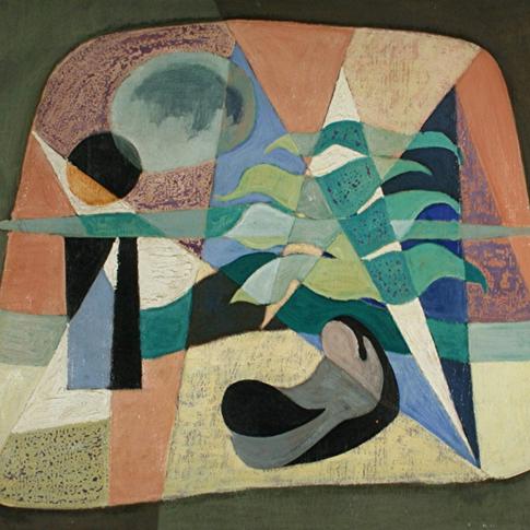 Georg Paul I Komposition I o. J. I Öl auf Pappe I 54 x 63 cm I 2350 Euro