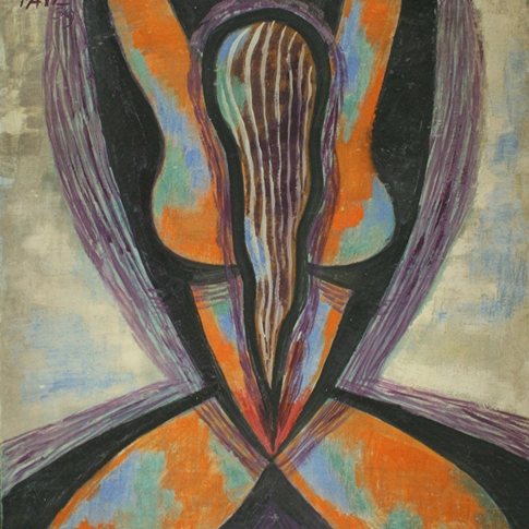 Georg Paul I Weibliche Figur I 1962 I Öl auf Pappe I 50 x 58 cm I 2200 Euro