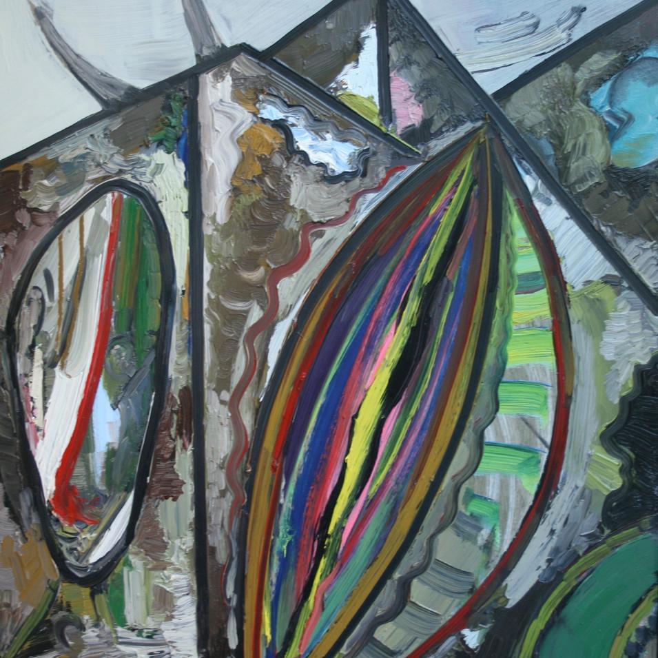 Hubertus Giebe | Die Fassade | 1998 | Ölfarbe auf Leinwand | 61 x 51 cm | 3900 Euro
