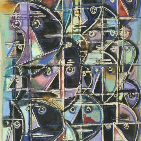 Georg Paul I Gesichter I 1959 I Aquarell, Tusche und Pastell I 53 x 38 cm I 1820 Euro