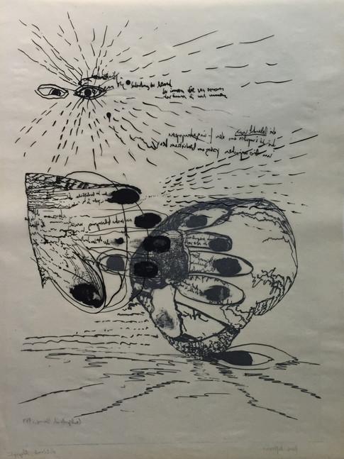 Carlfriedrich Claus | Handreflexion | o.J. | Probedruck | 49 x 37 cm