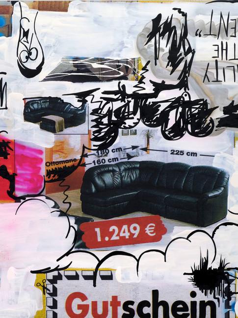 Oliver Kossack I Bataille of the Worlds re-resolved | 2010 | Öl, Sprühlack, Digitaldruck auf Leinwand | 140 x 190 cm | 9800 Euro