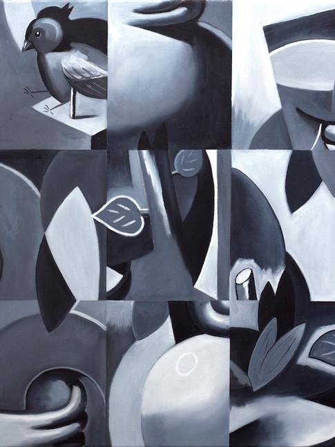 Philipp Weber | Stillleben und Vogel lII | 2017 | Acryl auf Leinwand | 60 x 50 cm | 1300 Euro