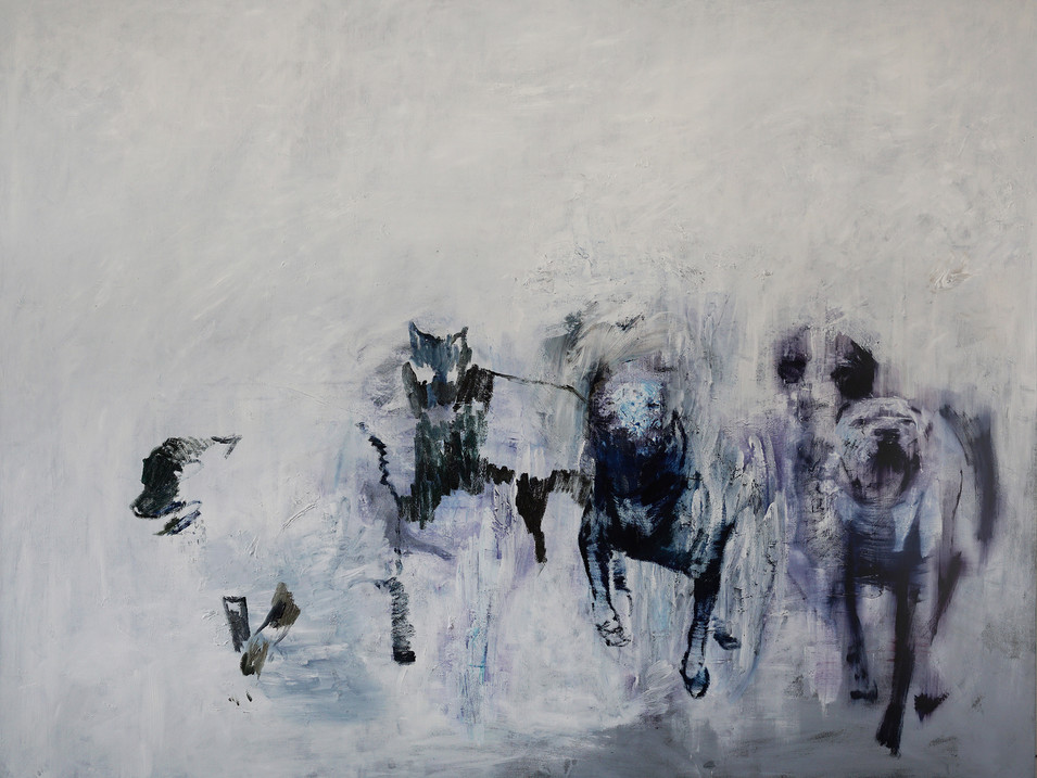 Martin Paul Müller | Hunde 6| 2016 | Öl auf Leinwand | 190 x 250 cm