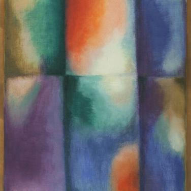 Paul Georg I Farbige Rechtecke mit hellen Flecken I 1967 I Öl auf dünnem Leinen I 44 x 41 cm I 1700 Euro