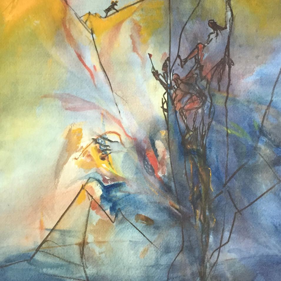 Dagmar Ranft-Schinke   Gipfelsturm   1998   Mischtechnik, Aquarell, Kreide   58 x 42 cm  1500 Euro