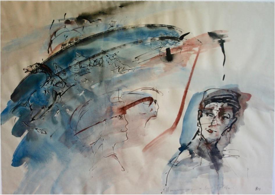 Dagmar Ranft-Schinke   Hommage Lew Tolstoi   2013   Mischtechnik, Aquarell, Acryl, Tusche 48 x 63 cm   1700 Euro