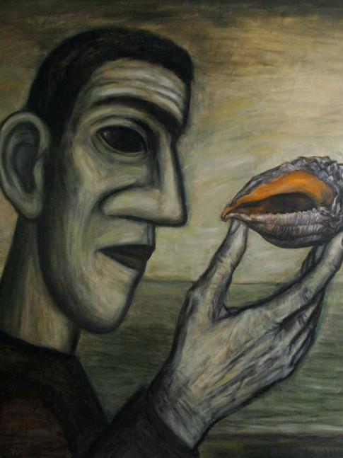 Nuria Quevedo | Mann mit Purpurschnecke (Folge Kopf/Hand) | 2012 | Öl auf Leinwand | 120 x 110 cm