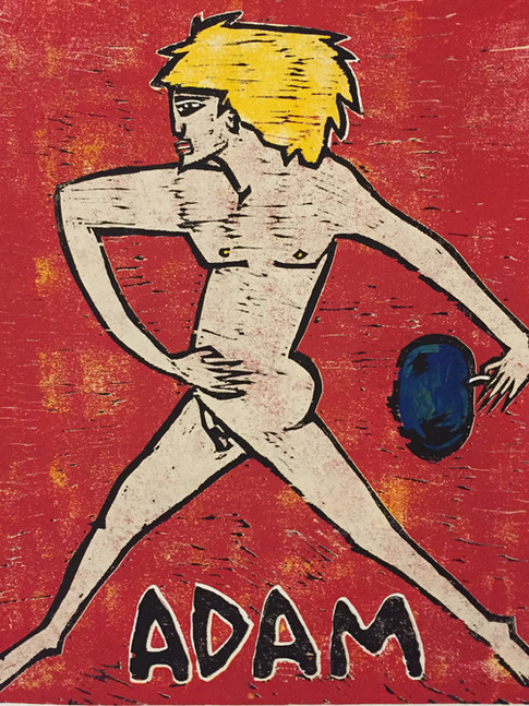 Klaus Süß   Adamnach R.M.Rilke   2015   Farbholzschnitt   2/6   60 x 50 cm   550 Euro
