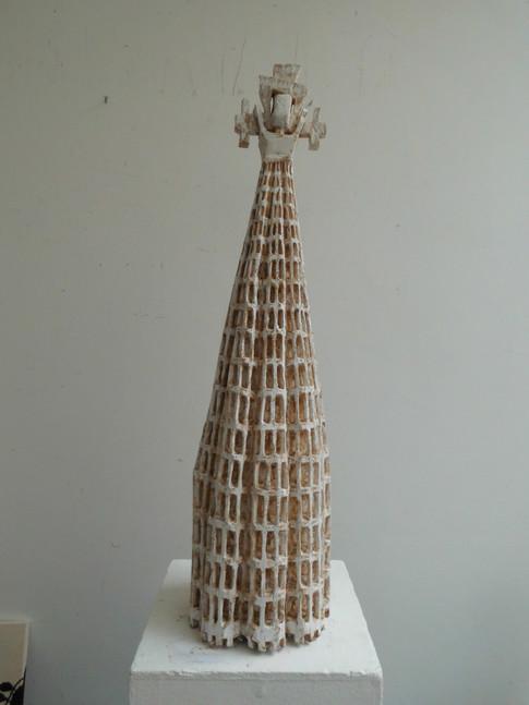 Klaus Hack | Reifrock-Figur | 2009-2010 | Holz | weiß gefasst | 82,5 x 20,5 x 21 cm | 3800 Euro
