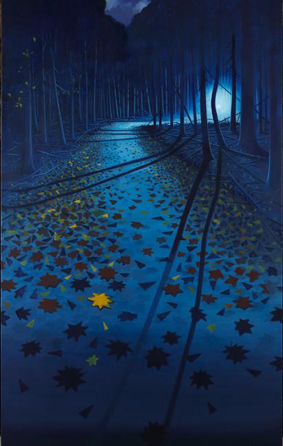 Thomas Geyer | Waldweg | 2015 | Eitempera auf Leinwand | 200 x 120 cm | 4800 Euro