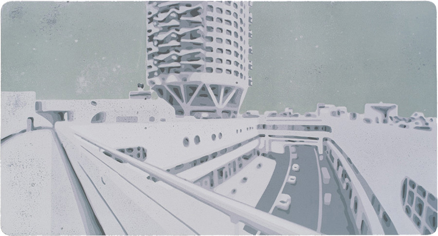 Harald Alff |Tel Aviv 4 | Farbholzschnitt | 2013 | Papierformat 60 x 42 cm | Grafikformat 32 x 48 cm | 150 Euro