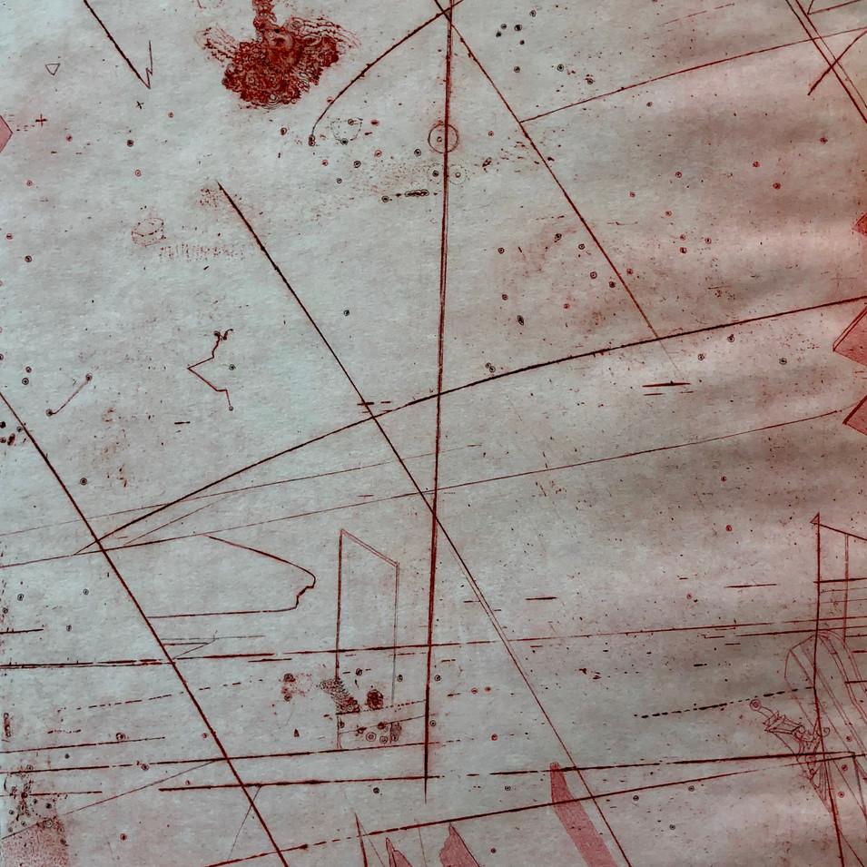Thomas Ranft | Schwingungen 1 | 2017 | Kaltnadel überzeichnet | 1/1 | 49 x 35 cm | 250 Euro
