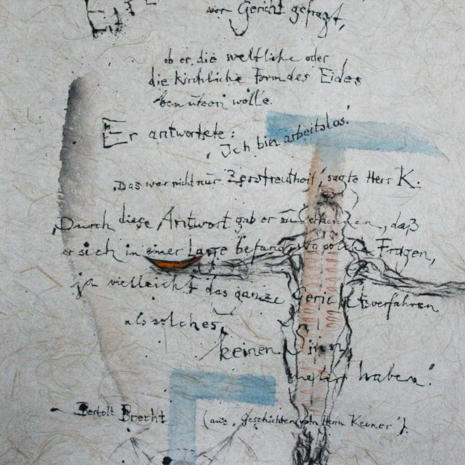 Dagmar Ranft-Schinke   Bertholt Brecht   2005   Mischtechnik, Aquarell, Tusche   61,5 x 93 cm  2200 Euro