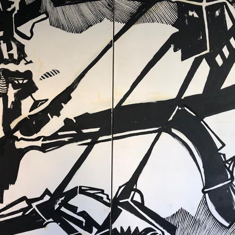 Wolfgang Opitz |Hasen schießen | 2019 | Malerei auf Leinwand | 130 x 200 cm | 3600 Euro