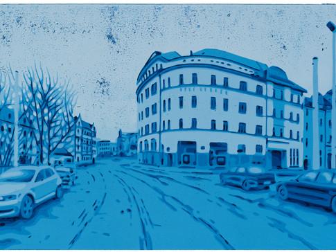 Harald Alff | Lindenau 2 | FHS, Rahmen | 2012 | Papierformat 50 x 70 cm | Grafikformat 31,5 x 60 | 180 Euro