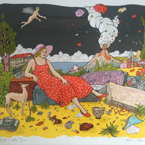 Moritz Götze | Nachts in Neapel | 2016 | Serigrafie | 70 x 80 cm