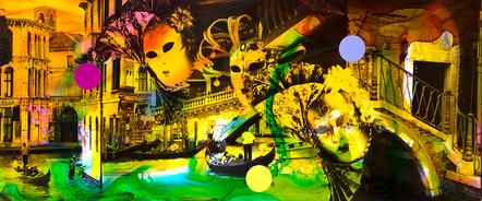 Helle Jetzig | Venice D 8 |Malerei und Siebdruck auf Fotografie | 50 x 120 cm | 2500 Euro