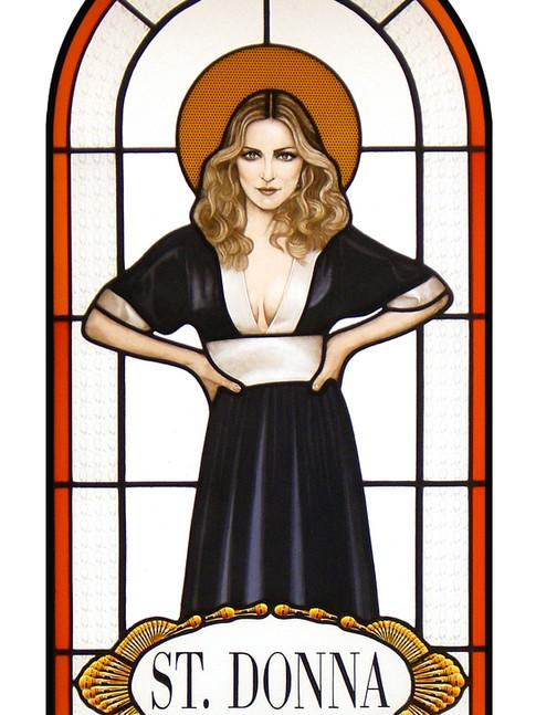 Anna Herrgott | ERSATZHEILIGE SaintDonna | 2012 | Leuchtkasten, Bleiverglasung mit Schwarzlotmalerei | 122 cm x 48 cm x 14 cm