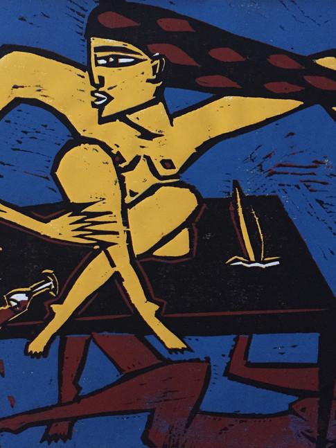 Klaus Süß   Nicht getroffen   Mappe Tischgeschichten   2007   Farbholzschnitt   6/10   50 x 40 cm  Mappe komplett 1400 Euro