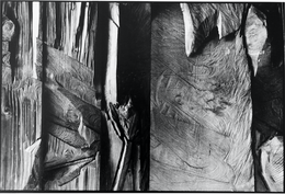 Klemens Albert Körner | Werk Detail an einer Wand Studie | Atelier in Schwarzenberg/Erzgebirge | 1986 | Silbergelatineabzug | 38,2 x 25,8 cm | 300 Euro