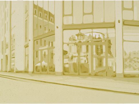 Harald Alff | Kleine Brüdergasse | Farbholzschnitt | 2012 | Papierformat 50 x 70 cm | Grafikformat 31,5 x 59,5 cm | 180 Euro