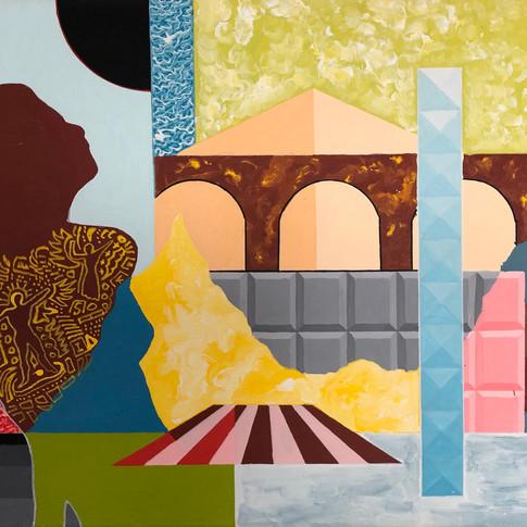 Harald Gallasch | Pause vor Viadukt | 2006 | Acryl auf Leinwand | 50 x 70 cm | 2300 Euro