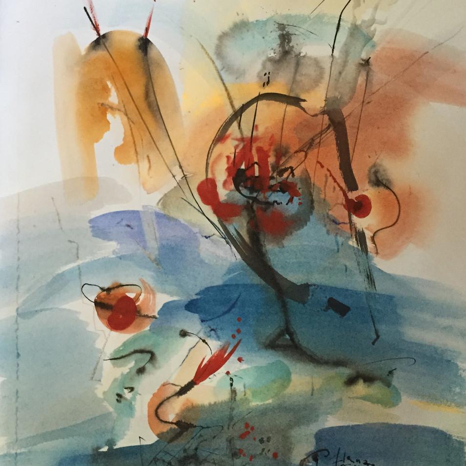 Dagmar Ranft-Schinke   Pflanzen tanzen   2015   Mischtechnik, Aquarell, Tusche   76 x 57 cm   1990 Euro