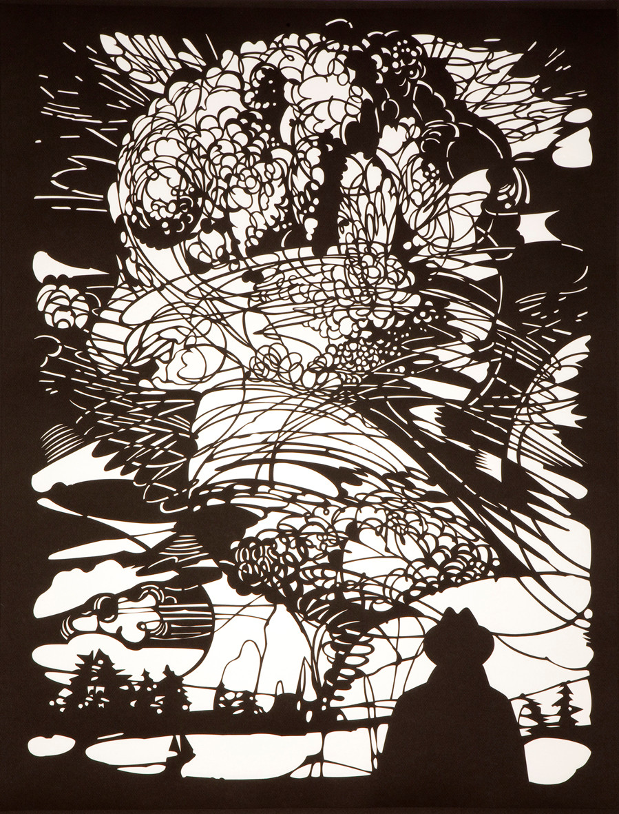 Annette Schröter | Mann staunt | 2011 | Papierschnitt gerahmt | 92 x 72 cm | 4400 Euro